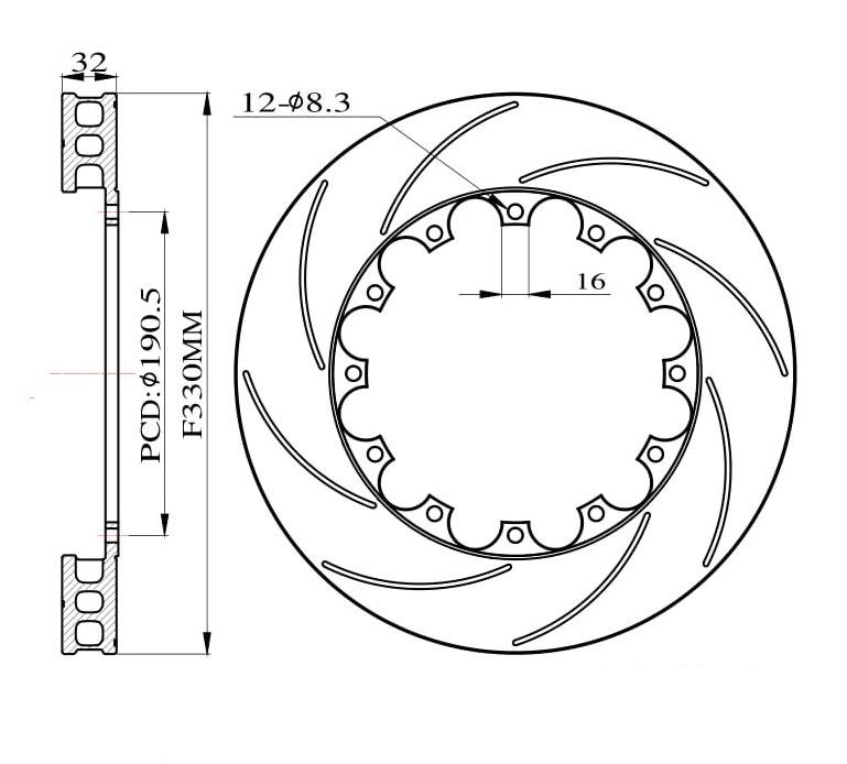 Tarcze hamulcowe nacinane do zestawu Big Brake 330mm 2011+ - GRUBYGARAGE - Sklep Tuningowy